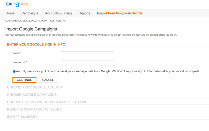 Import AdWords Campaigns