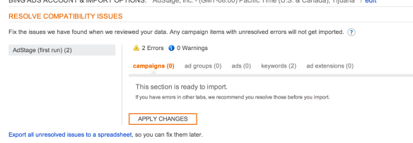 Import AdWords options into Bing